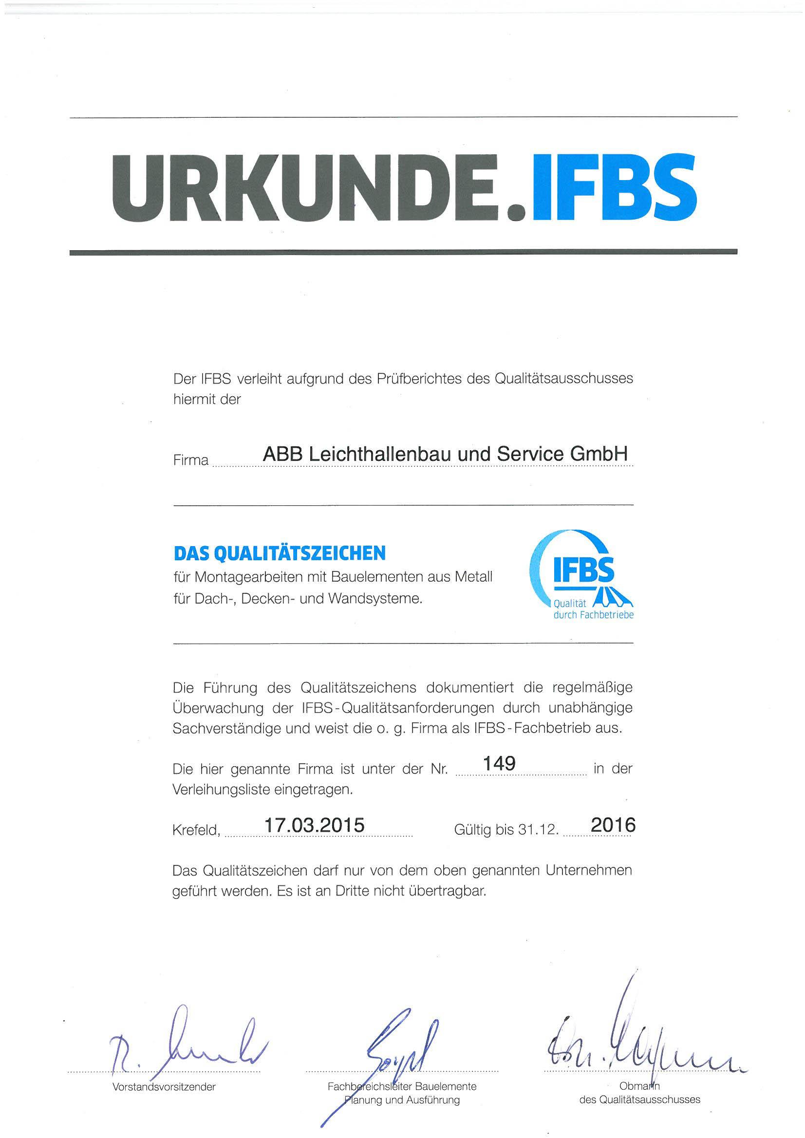 IFBS Urkunde 2015